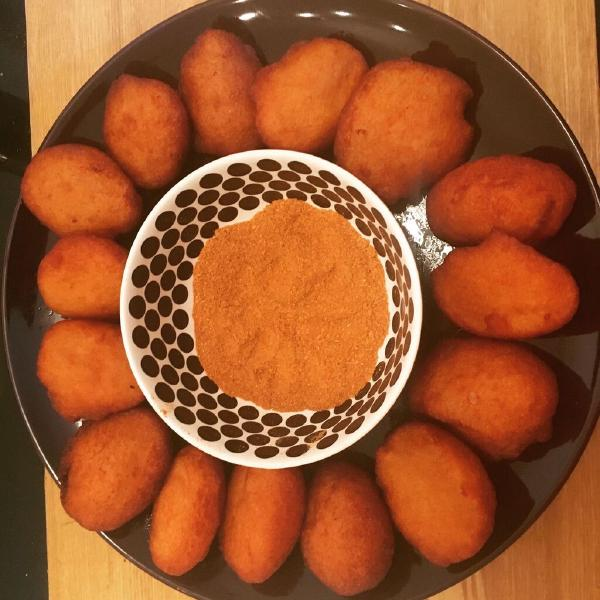 Kosai with Yaji (Fried Bean fritters and hot dry pepper mix). Source: Hauwa